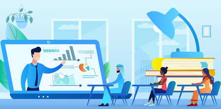 Professional online training. Multicultural group browsing the webinar. Education webinar banner. Distance Learning. Business courses. New technologies in education. Flat cartoon vector illustration. Vetores