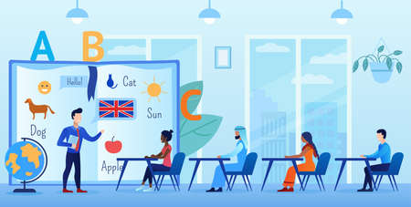 People of different nationalities are learning English. The teacher explains the basics. Students sit at desks. In the office. They communicate with each other. Flat vector cartoon illustration
