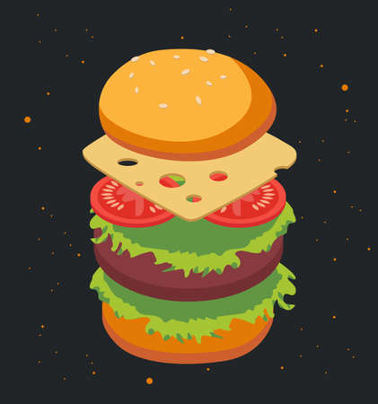 Delicious burger, with jumping ingredients. Cheese, tomato, meat. With a bright yellow bun. On a black background with yellow spots. Can be a sticker, an icon. Cartoon 3d Vector illustration
