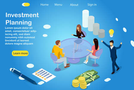 Investment planning. Workshop employees plan investments. Teamwork and head manager has a brilliant idea for investing money and growing. 3d vector template illustration for website, banner, poster.