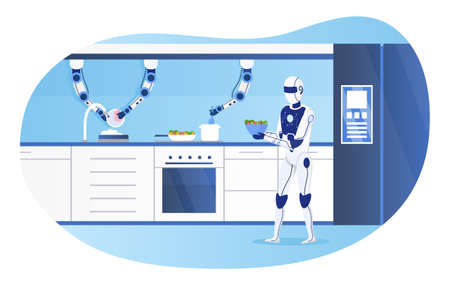 The humanoid robot controls process of cooking and washing dishes. Smart Kitchen Concept. Futuristic technologies in everyday life. Artificial Intelligence. Modern Kitchen Interior