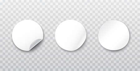 Circle adhesive symbols on a transparent background. White tags paper round stickers. White round stickers. Realistic Illusztráció