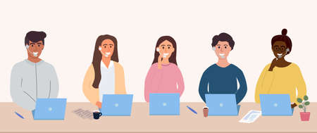 Colorful Call center operators avatars concept. Male and female customer service contact help managers vector web pictures. Customer support service. Online consultants