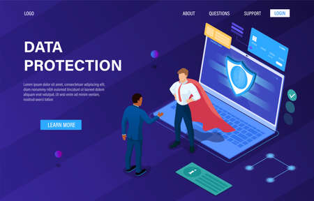Data protection concept. Data base mobile security. Protection of confidential data, shield server unit, digital technology, network communications. Easy to edit Landing page for web design. Isometric