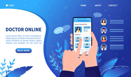 The concept of choosing a doctor online via smartphone. Mobile application for doctor search online. Health care app for mobile also suitable for landing page web design mobile page banner Flat Vector