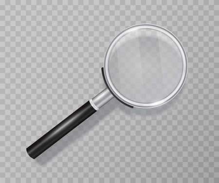 Magnifying glass on a transparent background. Made in 3D realistic style. Suitable for use as a supplement to your vector image. Neatly hand-drawn object. Realistic Highlights and Shadows Çizim