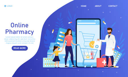 Online pharmacy concept Mom with a young lady orders medicine online Pharmacologist consultation via smartphone Medicine orders online pills vitamins spray syrup E-commerce medicaments Flat Vector