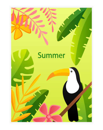 Colorful Summer Layout design Greeting Cards. Suitable for banner, cover book, poster. Easy to edit. Can be for printing or web design Light pleasant summer colors Flat Vector Illustration