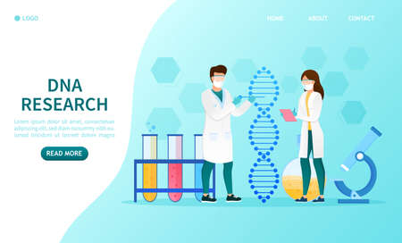 Scientists in the laboratory experiment with DNA Innovative bioengineering Scientific discoveries Research of molecules and chemical elements Nano helix Futuristic medicine Genetic engineering Vector Stock Illustratie