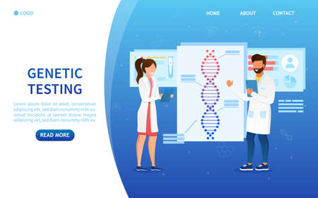 Man and woman scientists with dna model. DNA research concept. Presentation of the invention. Scientists are conducting research genes. Genetic engineering and biotechnology. Science concept. Vector