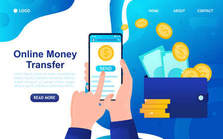 Online Money Transfer Concept. Money is sent via smartphone. Hand holding smartphone and sent money to wallet. E-Commerce Online Banking. Financial management. Isolated Flat Vector Illustration