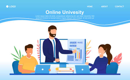 A group of students study at the Online University. Landing page template of Online education. The teacher explains the subject in the video. Suitable for landing, web, banner, mobile site Flat Vector Ilustração