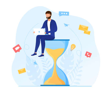 Multitasking Concept. Young attractive man sitting on an hourglass and working on a laptop.