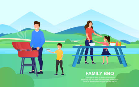 Young attractive couple with children making a BBQ outdoor. The father teaches his son to cook meat. Mother shows daughter how to cut vegetables. Happy Family days Lifestyle. Flat Vector Illustration
