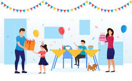 Kid Birthday Celebration with Family concept. Parents congratulate the birthday girl and give a birthday gift. Festive birthday atmosphere Holiday cake with candles Happy childhood Vector Illustration Vector Illustration