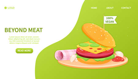 Artificial Cultured meat Concept Lab grown burger. Plant based beyond meat hamburger. Concept with cheese burger and ham. Perfect for landing page, web design, banner Easy to edit and customize Vector