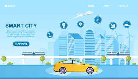 Smart City Concept with icons. An unmanned car on the road goes through a futuristic city. Internet of Things. Automated technologies. Smart buildings on the background. Flat Vector Illustration