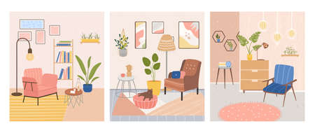 Set of three interiors of trendy rooms. Comfortable stylish living room with Scandinavian style furniture. Cozy apartments. Sweet home. Flat Vector Illustration Illustration