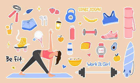Sport set lifestyle concept. Cute girl doing exercises trying to keep fit. Hand drawn funny elements of a healthy lifestyle. Trendy sports life. Colorful Cartoon Flat Vector Illustration