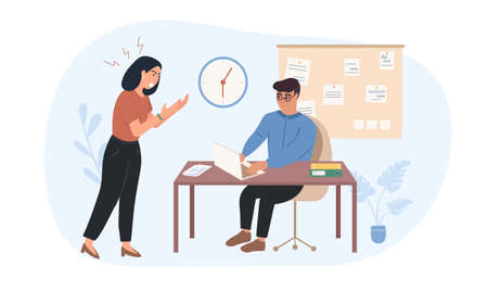 Lady boss is dissatisfied with the work of the employee. The leader shouts at the subordinate. Worker afraid despotic lady boss. Woman tyrant Pressure on employees. Woman Chef Flat Vector Illustration