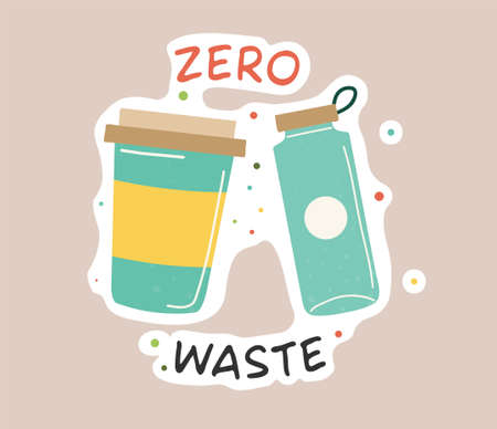 Ecology colorful sticker. Trendy slogan to save the planet. Eco friendly tools, zero waste concept, environmental protection, save wild nature and other. Flat Vector Illustration