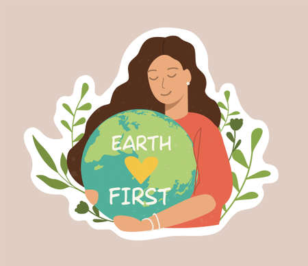 Ecology colorful sticker. Trendy slogan to save the planet. Eco friendly tools, zero waste concept, environmental protection, save wild nature and other. Flat Vector Illustration Vektorové ilustrace