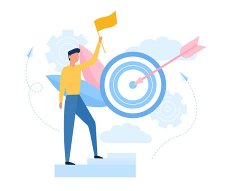 Goal achievement concept. Aimed at a goal and increase motivation. A young man with a flag climbed to the target. Creative success. Cartoon Flat Vector Illustration