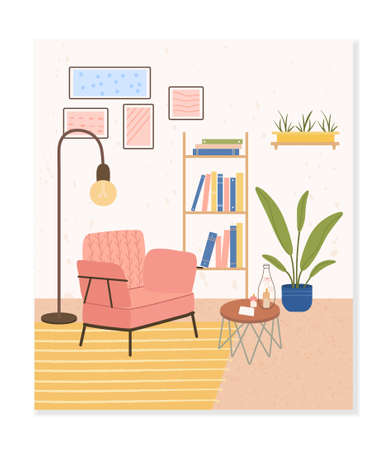 Cozy room interior. Comfortable stylish living room with Scandinavian style furniture. Trendy composition with home decorations. Flat Vector Illustration. Ilustração