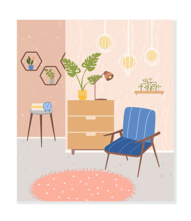 Cozy room interior. Comfortable stylish living room with Scandinavian style furniture. Trendy composition with home decorations and plants. Flat Vector Illustration.