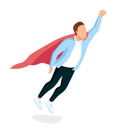 The superhero office worker dressed in trendy clothes proudly flies Super worker metaphor. Striving forward movement. Team leader. Professional worker. Well drawn and isolated. Isometric Vector