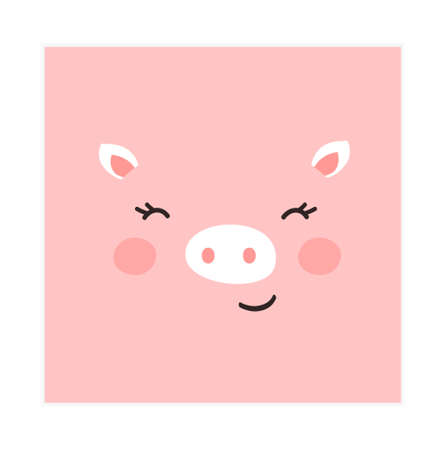 Trendy cute Pig Funny animal face. Perfect for textiles, prints, posters and more. Isolated and grouped. Colorful Cartoon Flat Vector Illustration Vettoriali