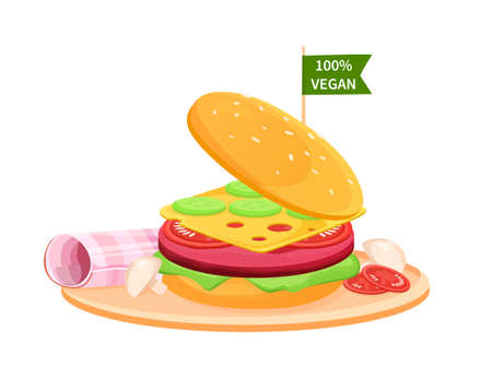 ake Meat Burger. Artificial Cultured meat Concept. Lab grown burger. Plant based beyond meat hamburger. Easy to edit and customize Vector Flat