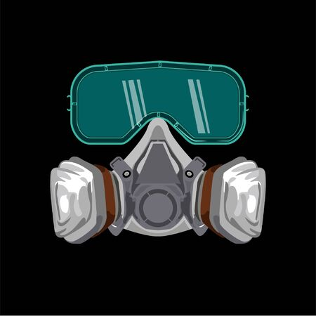 gas mask respirator safety with goggles health dust and smog