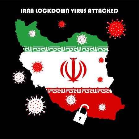virus corona disaster attacked iran country illustration
