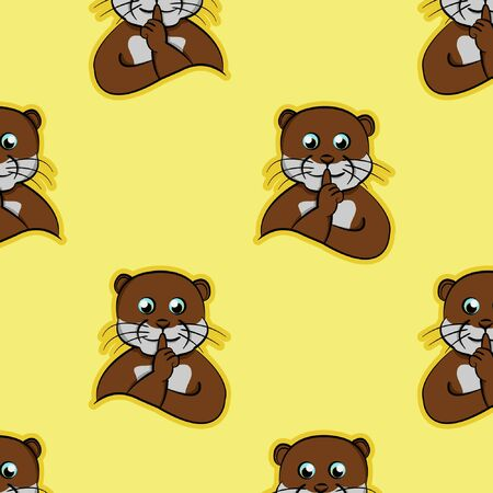 shut up code animals funny animals, otter silent hand index finger in lips, pet cute seamless pattern with cartoon hand drawing and yellow background