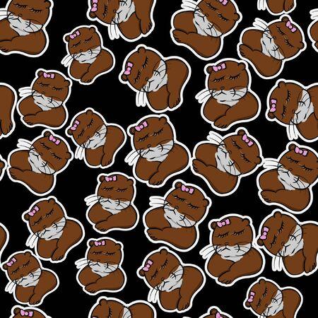 funny animals brown otter cranky pet cute seamless pattern, animal beaver resentful cartoon style with ribbon , peevish line art, sullen, fretful
