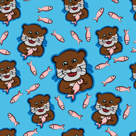 otter eat fish funny animals pet cute, beaver feeding fish with modern blue background seamless pattern Illustration