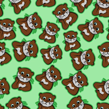 expression beaver confused, puzzled pet, perplexed, nervous cartoon, restless, uneasy funny animals otter cute seamless pattern with green background  イラスト・ベクター素材