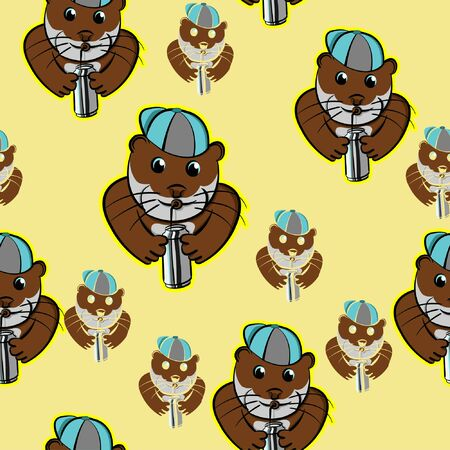 otter drinking canned with cup, pet cute funny make hat in head cartoon, beaver animals seamless pattern with yellow background Illustration
