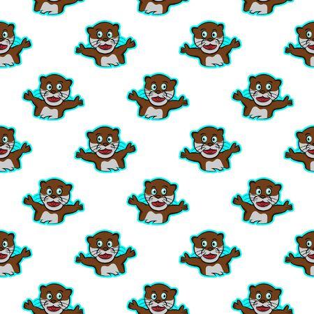 otter cheerful excited amused funny animals sportive pet cute seamless pattern with white modern print background expression cartoon style