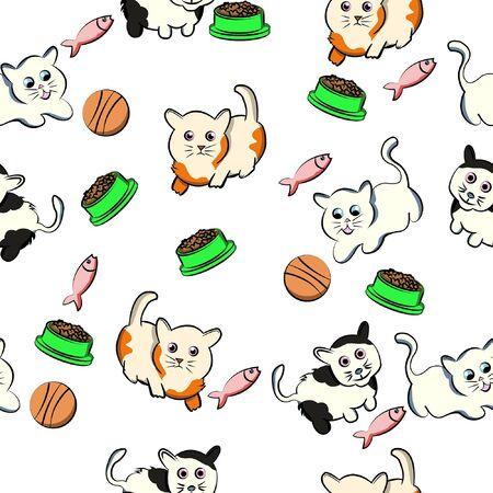 seamless pattern funny cat cartoon pet, kitty, kitten, doodle, with white background Vektorové ilustrace
