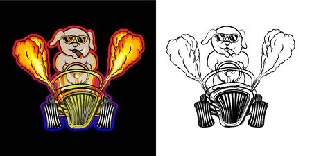 cute dog riding a hot rod car with a fire exhaust,ride car flaming hand drawn doodle coloring book page pattern cartoon , can be used for t-shirt print, fashion design, fabric, web, wallpaper