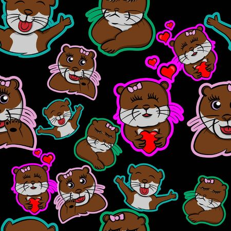 fall in love otter, be enamored funny animals, be taken beaver pet cute pattern many expression with black background