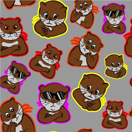 funny cool impressive expression animals nervous, otter perplexed, pet cute confused, beaver puzzled, seamless pattern with gray background