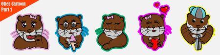 funny cartoon many expression animals otter pet cute set beaver bundle pattern, ice cream, fall in love, waving, cranky, sullen Ilustração