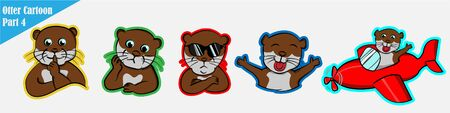 funny cartoon many expression animals otter pet cute set beaver bundle pattern, silent, shut up, confused, puzzled, cool impressive, excited happy amused, boarding a plane red, pilot