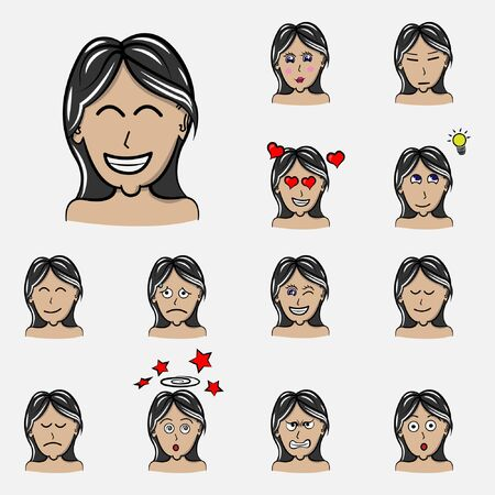 Set of woman's emotions. Facial expression. Girl Avatar. Hand drawn style vector design illustrations Illustration