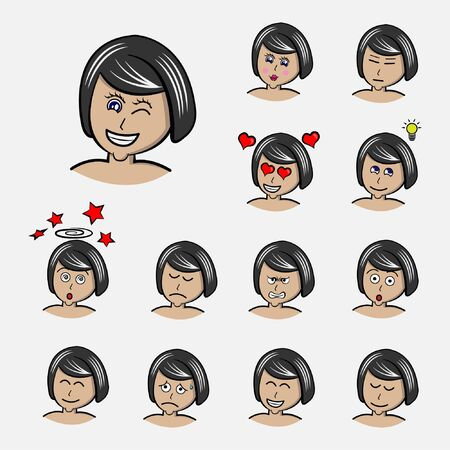 women's short hair Set emotions. Facial expression. Girl Avatar. Hand drawn style vector design illustrations