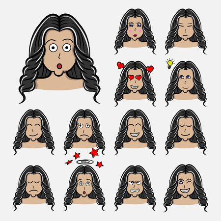 curly length hair Set of woman's emotions. Facial expression. Girl Avatar. Hand drawn style vector design illustrations