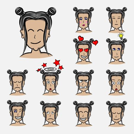hair tied Set of woman's emotions. Facial expression. Girl Avatar. Hand drawn style vector design illustrations with hair style emoticon, emoji, emotion